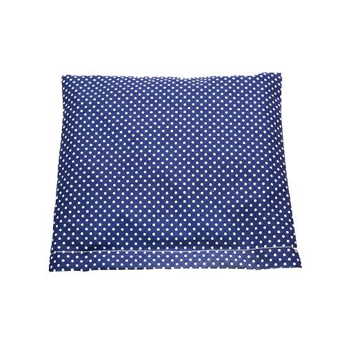 Polštářek plněný prosem, modrý s puntíky, 18 x 19 cm